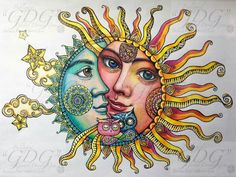 Pin by Hester Dowdy on Whimsical Sun, Moon Stars Sun And Moon Drawings, Sun Drawing, Doodle Drawings, Sun Moon Stars, My Sun And Stars, Tattoo Sol E Lua, Luna Tattoo, Moon Sun Tattoo, Tattoo Mond