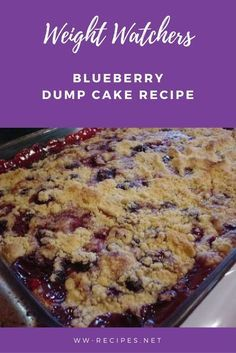 What a delicious dump cake! The blend of the lemon, blueberries, pineapple and walnut is wonderful! Weight Watchers Blueberry Dump Cake recipe Makes Weight Watcher Desserts, Weight Watchers Snacks, Weight Watcher Dinners, Weight Watchers Blueberry Dump Cake Recipe, Weight Watchers Kuchen, Blueberry Dump Cakes, Plats Weight Watchers, Weight Watchers Cobbler Recipe, Cake Recipes