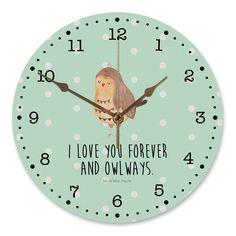 """30 cm Wanduhr Eule Zufrieden aus MDF  Weiß - Das Original von Mr. & Mrs. Panda.  Diese wunderschöne Uhr von  Mr. & Mrs. Panda wird liebeveoll in unserem Hause bedruckt und an sie versendet. Sie ist das perfekte Geschenk für kleine und große Kinder, Weltenbummler und Naturliebhaber. Sie hat eine Grösse von 30 cm und ein absolut LAUTLOSES Uhrwerk.    Über unser Motiv Eule Zufrieden  Ganz nach dem Motto """"I Love you forever and owlays"""". Die wunderbare zufriedene Eule von Mr. & Mrs. Panda…"""