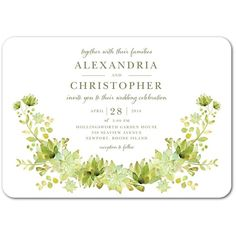 Succulent Garland - Signature White Wedding Invitations with Square Corners Succulent Tattoo, Succulent Wedding Invitations, Garland, Succulents, Place Card Holders, Celebrities, Pretty, Stationary, Tattoos