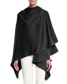 Madison Cashmere-Blend Wrap, Black by Loro Piana at Bergdorf Goodman.