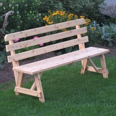 A & L Furniture Western Red Cedar Bench with Back - Outdoor Benches at Hayneedle
