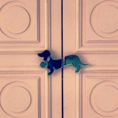 Dachshund dog door handles at the Peter Alexander store Crown Casino Melbourne.