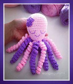 Ravelry: Pulpo Amigurumi pattern by Angie Vega Crochet Amigurumi Free Patterns, Easy Crochet Patterns, Crochet Gifts, Crochet Toys, Crochet Octopus, Crochet Beanie, Crochet For Kids, Crochet Animals, Crochet Projects