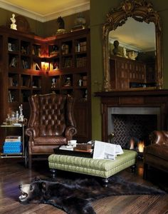 Ideas Home Library Cozy Man Cave English Interior, English Country Decor, English House, English Library, English Study, Home Libraries, Living Spaces, Living Room, Home Office