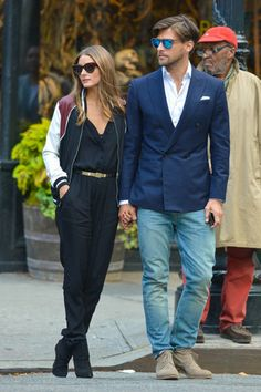 Obsessed with jumpsuits too though have not had the courage to wear one yet.  Not sure I would wear this but it's badass and I think Olivia Palermo is killin it here.