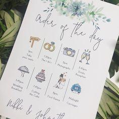 Order Of The Day Wedding, Vintage Travel Wedding, Wedding Stationary, Wedding Invitations, Wedding Schedule, Budget Wedding, Wedding Ideas, Wedding Timeline, Wedding Prints
