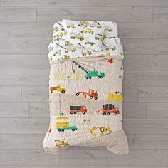 Shop Builder's Toddler Bedding. This construction toddler bedding is ready to lay the foundation for a good night's sleep. That's because it's adorned with a printed construction equipment design on comfy 100% organic cotton.