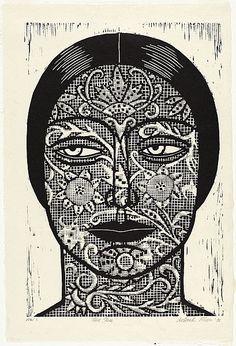 Linocut by by Deborah Klein