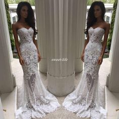 Romantic Boho White Mermaid Wedding Dresses Heavy Embellishment Bridal Dress Full Lace Applique Backless Illusion Bodice Wedding Gowns 2017 Wedding Dresses Lace Bridal Gowns Online with 178.0/Piece on Sweet-life's Store | DHgate.com