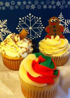 Holiday fun! Gingerbread cupcakes, peppermint cupcakes, and eggnog latte cupcakes! Mmmmm