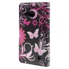 Lumia 550 kukkia ja perhosia puhelinlompakko.