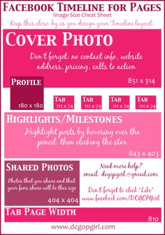 Facebook Timeline For Pages: Image Size Cheat Sheet [INFOGRAPHIC] – Infographic List