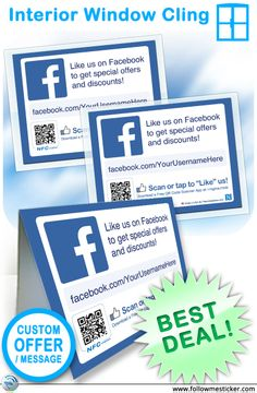 Custom Offer Table Tent and Interior Window Clings Bundle from FollowMeSticker.com Only $8.99 - add your own message, url, + get a QR and ...optional NFC! (additional cost).