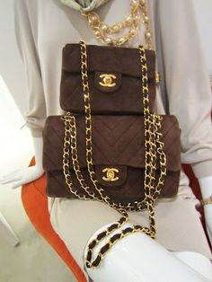 Chanel Handbags | Chanel Brown Suede Quilted Chain Vintage Bags | brown