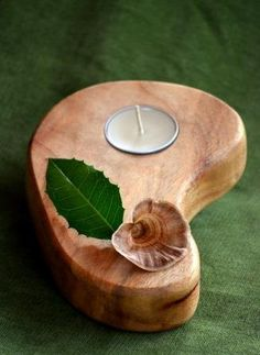 Waldorf Timber Wooden Candle Stand Holder with Beeswax tealight SEED design - Dinner Table, Unique Gift & Natural Centrepiece. Australia via Etsy