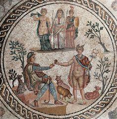 HISPANIA ROMANA - Cástulo, Jaen, Andalucía, Spain. El mosaico, denominado Mosaico de los Amores por sus descubridores, mide 12 por 6 metros, y muestra motivos geométricos alrededor de dos escenas mitológicas en el centro, el juicio de Paris y el mito de la diosa Selene y Endimión; el mosaico se completa con motivos animales y alegorías de las cuatro estaciones.