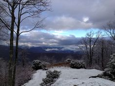 Where I used to work: View of Panther Ridge and into Panthertown from The Southern Highlands Reserve. First snowy day. Photo by Taylor Ladd.