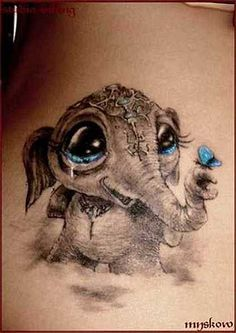 cute smiling elephant tattoo blue eyes and butterfly. I wouldnt get it as a tatoo, but he is cute! Incredible Tattoos, Beautiful Tattoos, Piercing Tattoo, Piercings, Baby Elefant Tattoo, Elephant Love, Baby Elephants, Baby Animals, Elephant Tattoos