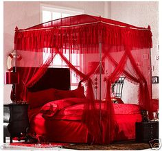 High quality four metal steel frame 4 canopy Mosquito net bed King/queen size A+ Wedding Bedroom, Romantic Bedroom Decor, Romantic Room, Royal Bedroom, Bedroom Red, Tree Bedroom, King Size Canopy Bed, Wedding Night Room Decorations, Holiday Decorations
