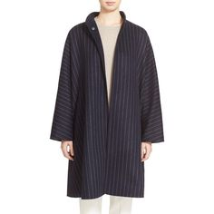 Max Mara 'Addirsi' Reversible Wool & Angora Caban Coat (39.621.880 IDR) ❤ liked on Polyvore featuring outerwear, coats, ultramarine, flared coat, blue coat, long sleeve coat, oversized wool coat and reversible wool coat