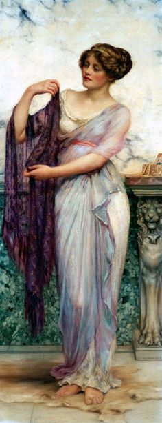 """Your fulsome beauty arises like smoke, on the wind, and flashed, like the briefest memory of eternal spring, a sacred place before, that is now, and will always be."""" ~~ The purple scarf, by William Clarke Wontner (British, 1857-1930)."""