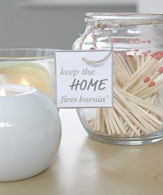 Bottle of matches.... Thinking apocathy jar.... Easy and fun...home fires burnin'