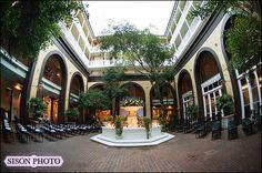 New Orleans Wedding courtyard ceremony at  Hotel Mazarin www.hotelmazarin.com – Kaite and Cain