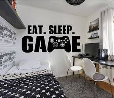 Boy bedroom design - Gamer wall decal Eat Sleep Game wall decal Controller video game wall decals Customized For Kids Bedroom Vinyl Wall Art Decals – Boy bedroom design