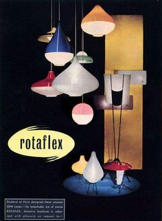 Classic mass market American Modern with the Rotaflex lamps designed by Yasha Heifetz and produced by the Heifetz Manufacturing Co. USA in the 1950's.