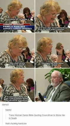 Using the bible as an excuse for bigotry. Woman dares congressman to stone her to death. Leviticus