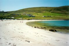"Levenwick Beach, Shetland Island.  Homeplace of Gudrun Johnston, knitwear designer.  She's named her latest sweater design Levenwick after this sandy beach and the ""wee cottage"" in which she grew up."