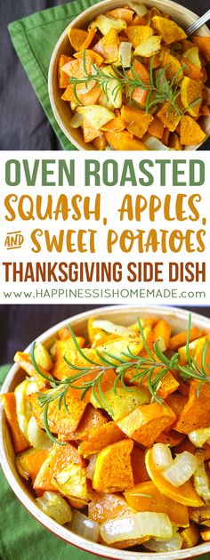 These quick and easy Roasted Sweet Potatoes, Squash, and Apples make a delicious and healthy Thanksgiving side dish!