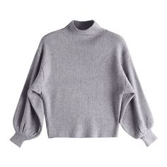 Lantern Sleeve Mock Neck Sweater Gray (135 NOK) ❤ liked on Polyvore featuring tops, sweaters, zaful, mock neck top, mock neck sweater, gray top, grey sweater and grey top