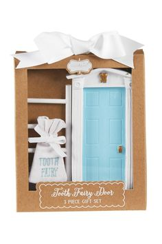 A 3-piece set. With miniature door allows entry for tooth fairy. Comes with wood ladder and linen pouch to hold tooth.  Blue Fairy Door by The Gift Pod. Home & Gifts - Gifts - Gifts by Occasion - Baby & Kids Louisiana