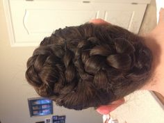 3 pony tails Braid each Twist and pin up! So easy!!