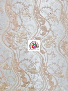 "Peach Romantic Detailed Floral Sheer Lace Scalloped Edges Fabric 48"" Wide By The Yard"