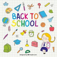 Back to school illustration on notebook Free Vector
