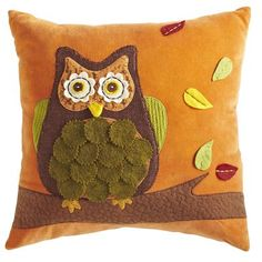 Owl Pillow This will look great on my rust colored leather sofa! Gotta run. . . go get it!