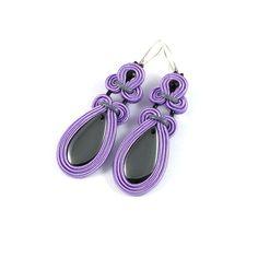 Dangle soutache earrings - Node lavender soutache earrings with hematyt