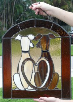Stained Glass Greyhound Dogs Puppy Love Suncatcher