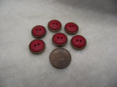 pick up size vintage plastic buttons gold color oval with orange center 6 Buttons