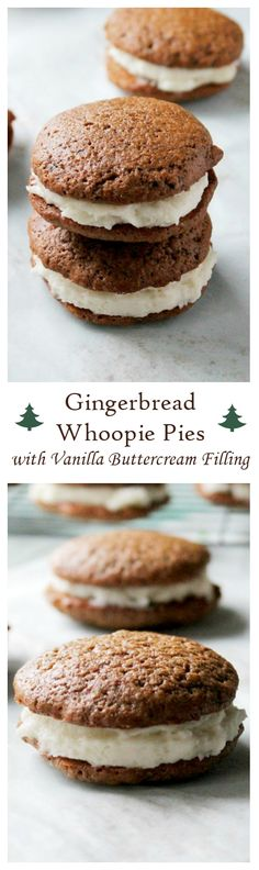 Deliciously spiced Gingerbread Whoopie Pies filled with a decadent Vanilla Buttercream Filling.
