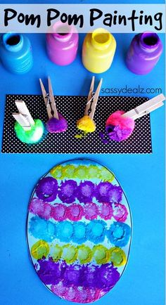 Restaurant Deals Kids Crafts DIY Contact Pom Pom Easter Egg Painting Craft for Kids March 2014 by Michelle McKinl. Kids Crafts, Painting Crafts For Kids, Daycare Crafts, Toddler Crafts, Craft Kids, Bunny Crafts, Craft Work, Easter Art, Easter Projects