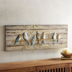 A flock of friendly warblers comes home to roost at your place. Our artwork& charming scene is painted on a weathered-wood background and would look perfect perched over a window where the sun streams in. Cute Dorm Rooms, Cool Rooms, Diy Wall Decor, Bedroom Decor, Bedroom Ideas, Bedroom Wall, Wall Decorations, Christmas Decorations, Home To Roost