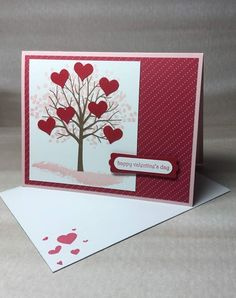 Valentine's Day Greeting Card - Heart Tree - Happy Valentine's Day - Pink & Red Card with Hea. - Valentine's Day Greeting Card – Heart Tree – Happy Valentine's Day – Pink & Red Card with - Homemade Valentine Cards, Valentines Day Cards Handmade, Valentines Day Greetings, Valentines Diy, Homemade Cards, Valentine Tree, Valentine Hearts, Valentine's Day Greeting Cards, Heart Cards