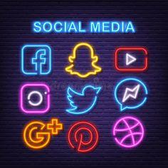 Social Network Icons, Social Networks, Social Icons, Social Media Art, Social Media Images, Social Media Design, Snapchat Logo, Internet Icon, Neon Quotes