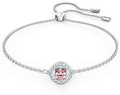 SWAROVSKI Women's Angelic Square Bracelet, Rhodium Plated, Pink Crystal