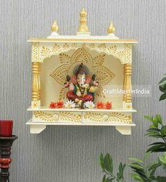Mandir Design, Pooja Room Design, Pooja Mandir, Hindu Statues, Puja Room, Office Wall Decor, Luxury Decor, Gold Paint, Temple