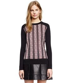 KIMBA SWEATER - DOTTED SQUARE A DESERT SAND/ BLACK/BLACK